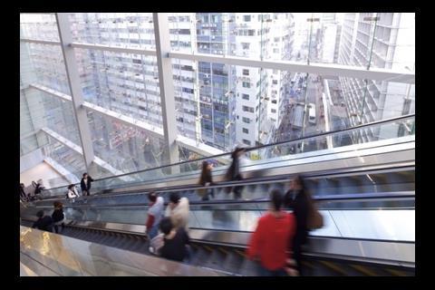 Outward view from an escalator